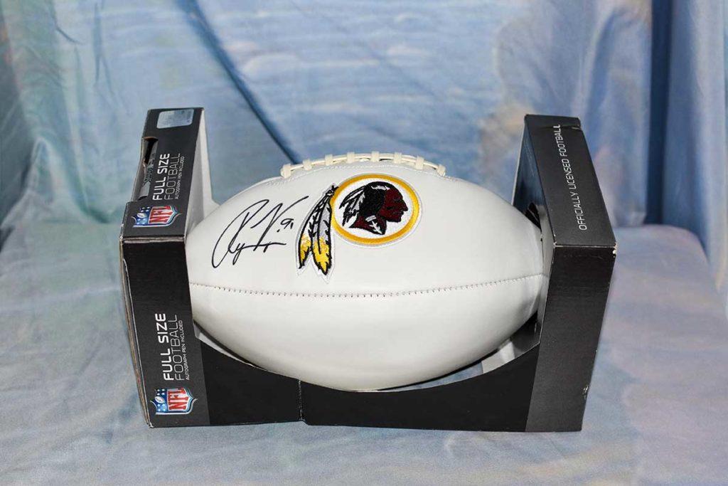 Washington Redskins #91 Ryan Kerrigan signed football