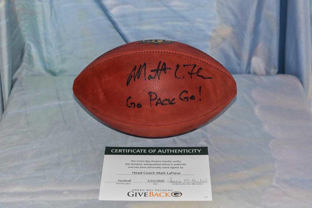 Green Bay PackersCoach Matt LaFleur signed football