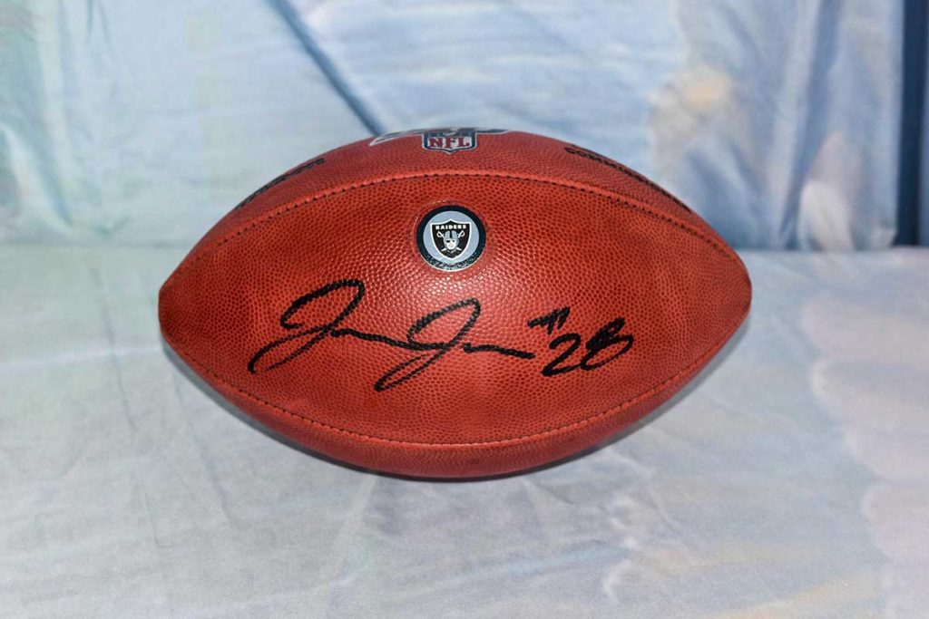 Oakland Raiders #28 Josh Jacobs signed football