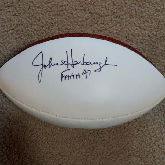 John Harbaugh Autographed Football