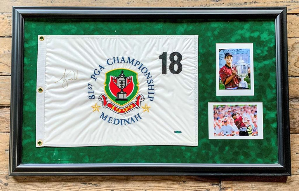 Tiger Woods Autographed 1999 PGA Championship pin flag