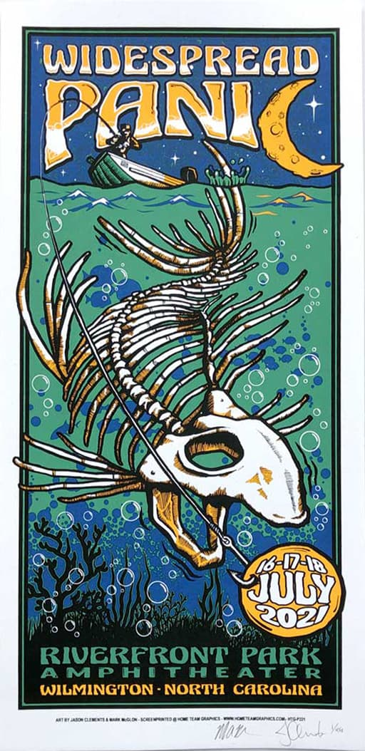 Widespread Panic Wilmington NC Event Poster by Jason Clements and Mark McGlon
