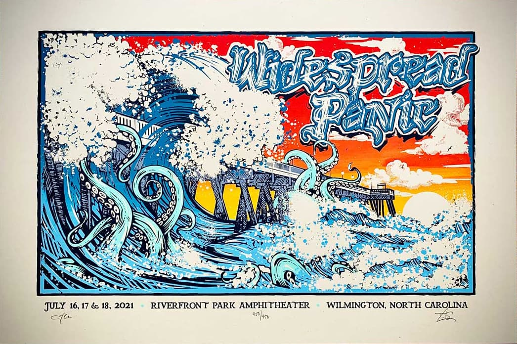 Widespread Panic Wilmington NC Event Poster by Tom Shaw and JT Lucchesi